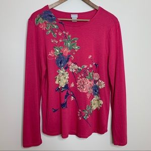 Chico's Hot Pink Floral Beaded Long Sleeve Shirt